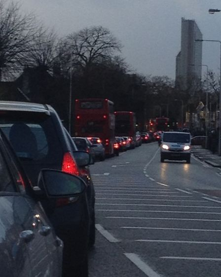 Traffic at a standstill in Cranbrook Road, Ilford, just after 8am Wednesday morning [Picture: Ellie