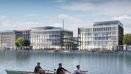 A CGI shows the proposed development at Royal Albert Dock