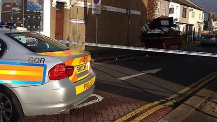 Police cordoned off Buckingham Road in Ilford (Picture: Ellie Hoskins)