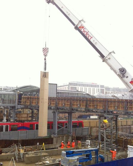 Column for new station lowered into place at the site of the new station (pic: Crossrail)