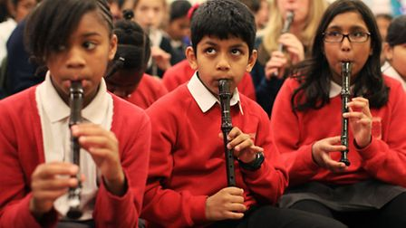 Children at Goodmayes Primary School rehearse for a choral festival at the Royal Albert Hall