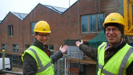 Cllr Michael Armstrong and Cllr Andrew Curtin, right, outside the Rainham Library structure