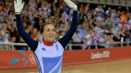 Great Britain's Victoria Pendleton waves to fans at London 2012. Picture: John Giles/PA
