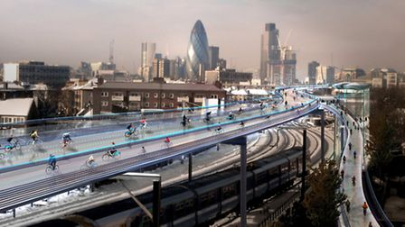 An artist's impression of the SkyCycle network. (Picture: Foster and Partners)