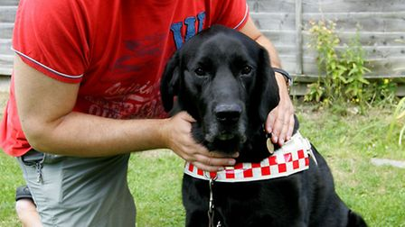 Gary Mazin with his guide dog Gibson