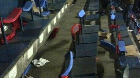 The damage caused to Brisbane Road's East Stand by Peterborough fans on Saturday
