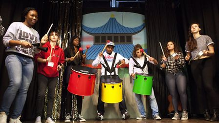 Young people on NCS playing to a community group (photo; Adam Hollingworth)