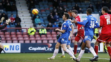 David Mooney heads Orient into the lead. Pic by Simon O'Connor