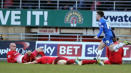 But joy turned to despair for Orient's players as Tommy Rowe fired in the winner. Pic by Simon O'Con
