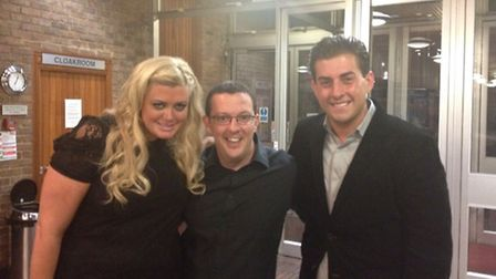 Gemma Collins and James Argent with Steven Day (centre) at the Kenneth More Theatre.
