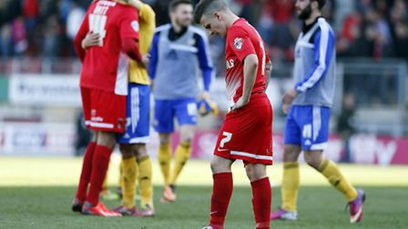 Dean Cox is dejected after the final whistle. Simon O'Connor