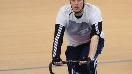 Reporter Freddy Mayhew on the track at the velodrome.