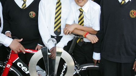 Rokeby school students with the Tour de France trophy