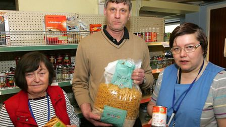 Harold Hill food bank was burgled on Friday. Mark Reeves, with volunteers Valerie Hughes and Heathe
