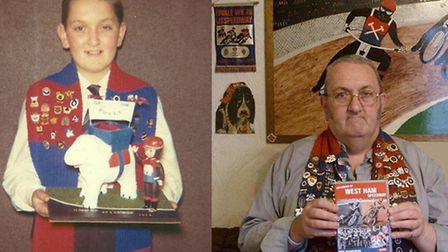 Robert as a youngster and now, with his speedway scarf
