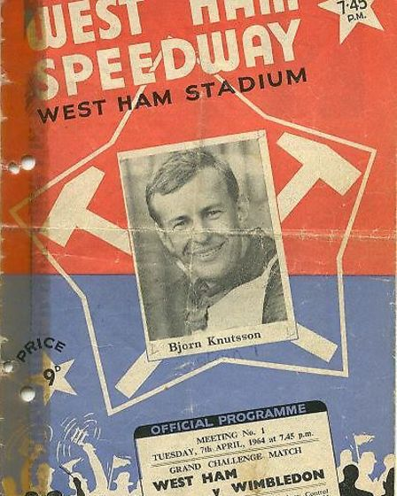 The programe cover for the first race at West Ham in 1964
