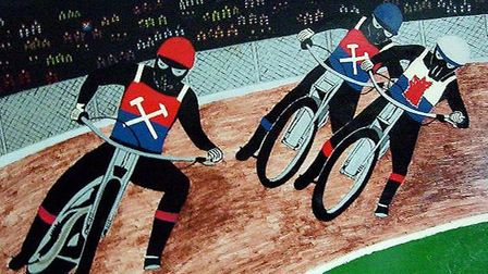 A painting by Robert's dad, showing the Hammers racing against Swedish team Varagana