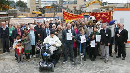 Campaigners at the site of the old baths in Ilford