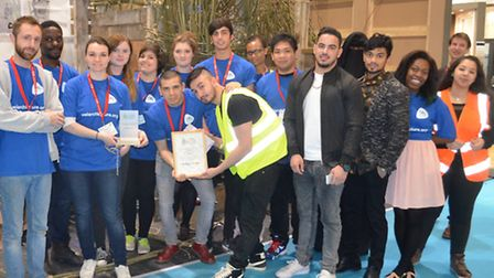The architecture students won the award for their bird hide which uses recycled timber