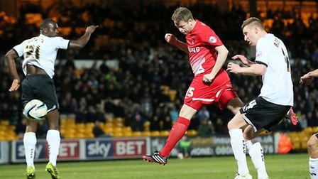 Nathan Clarke heads his first goal for Orient. Pic by Simon O'Connor