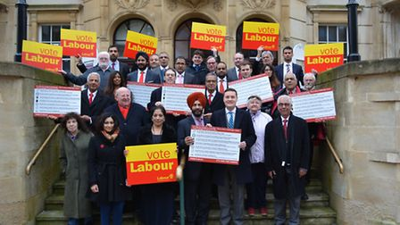 Ilford South MP Mike Gapes with Labour group leader Cllr Jas Athwal, councillors and supporters outs