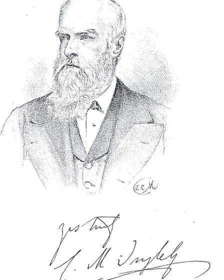 Drawing of Clement Mansfield Ingleby, thought to have been from a photograph. Appeared in the public