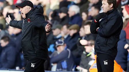Orient boss Russell Slade shows his emotion on the touchline (pic: Simon O'Connor)