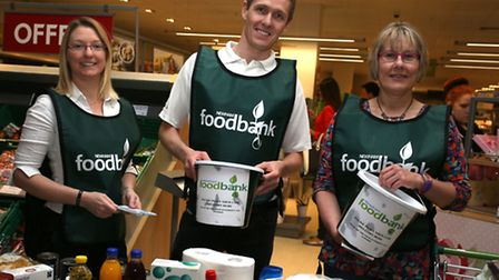 Volunteers Sarah Turner, Andrew Holmes and Marie Trubic collecting for Newham foobank at Waitrose in