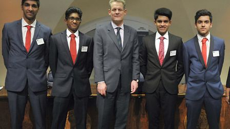 The students with Spencer Dale, chief economist of the Bank of England