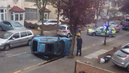The aftermath of the crash in Devonshire Road. Picture: Kam Rai