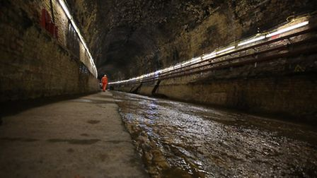 Crossrail's Connaught Tunnel site in the Docklands. The victorian rail tunnel was built in 1878 and