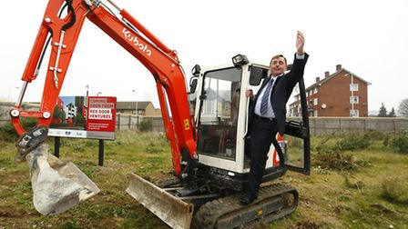 Mayor of Newham Sir Robin Wales at the Red Door Ventures ground-breaking ceremony.