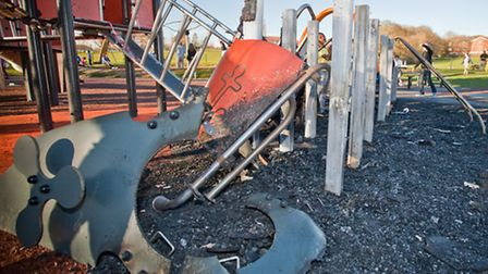 The play area was badly damaged in the fire on Friday night. Picture: Marc Ayres