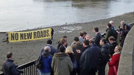 Protesters gathered along the river bank in protest when Newham and Greenwich councils launched thei