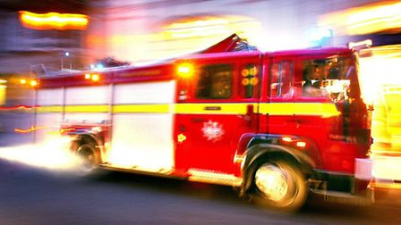 The labradoodle was rescued from the building by firemen.