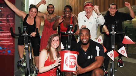 A group of cycling enthusiasts raise money for Sport Relief from UEL SportsDock.