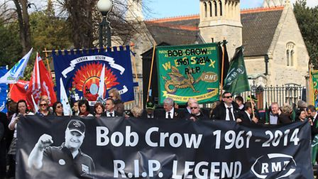 Friends and union members gather outside the City of London Cemetery and Crematorium to pay tribute