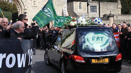 RMT General Secretary Bob Crow's funeral procession arrive at the City of London Cemetery and Crema