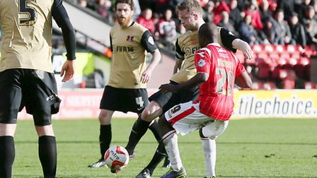 Nathan Clarke scores Orient's equaliser. All pics by Simon O'Connor