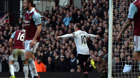 Manchester United's Wayne Rooney scores the second goal during the Barclays Premier League match at