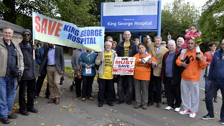 Protestors at King George Hospital