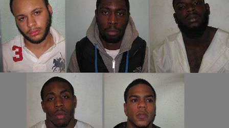 The gang of five have been arrested to 13 years in jail between them