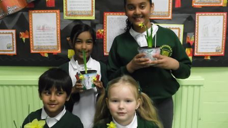 The children grew their own daffodils and decorated the pots