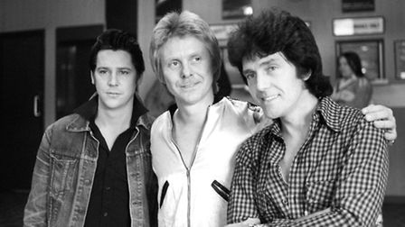 Left to right, Shakin Stevens, Joe Brown and Alvin Stardust taking a break from rehearsals at the As