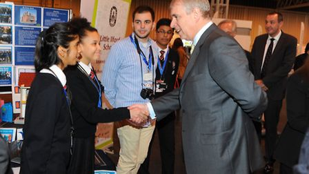 Students from Little Ilford School spoke to Prince Andrew during the fair