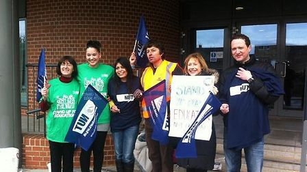 Striking Newham teachers hold a protest picket before heading off for march and rally in central L
