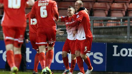 Dean Cox celebrates with goalscorer Scott Cuthbert but Orient could not see out the victory. Pic by