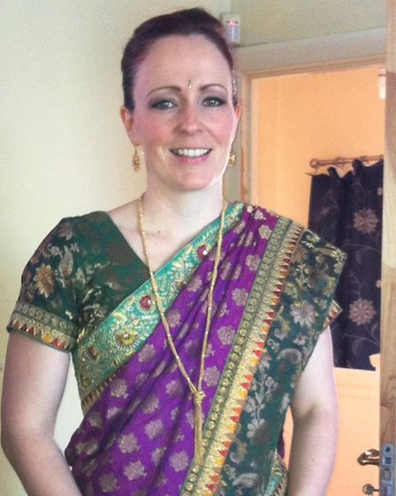 Redbridge faith liaison officer Sarah Scannell dressed in a sari before attendng a Sikh wedding in S