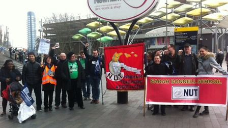 NUT members outside Stratford station before heading off to the march