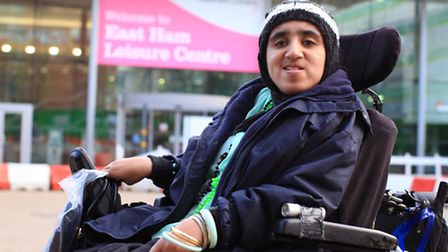 Disabled Ruby Naeem outside East Ham Leisure Centre.